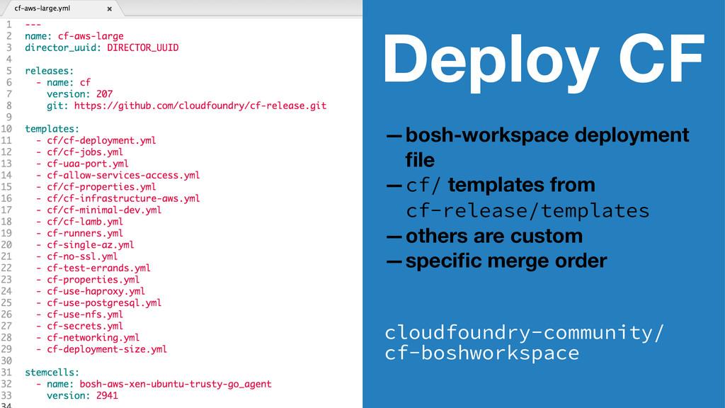 Deploy CF —bosh-workspace deployment file —cf/ t...