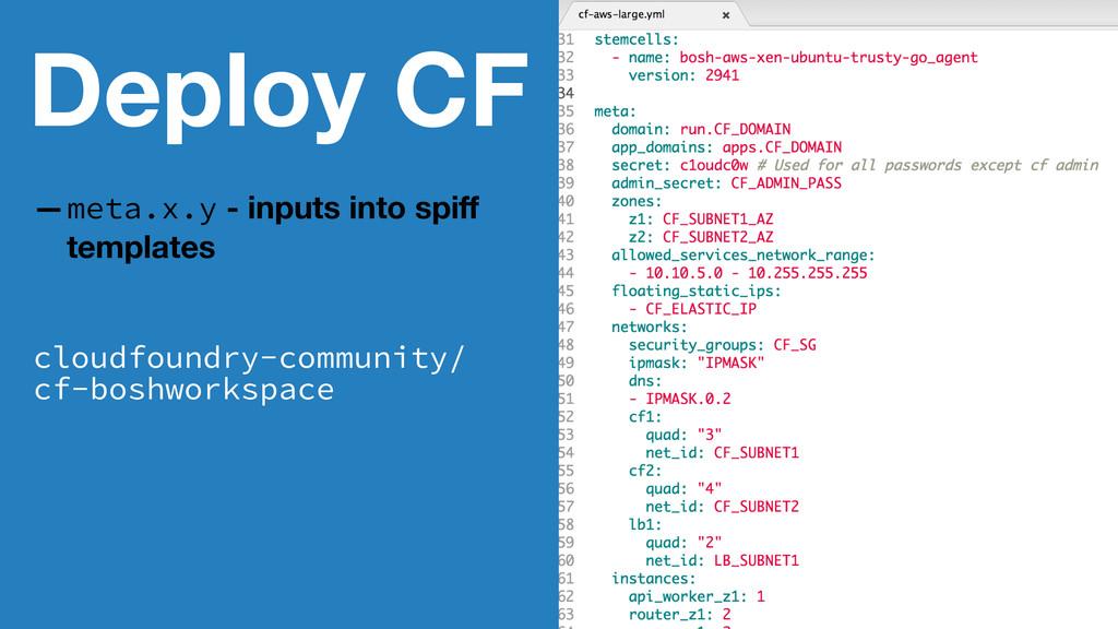 Deploy CF —meta.x.y - inputs into spiff template...