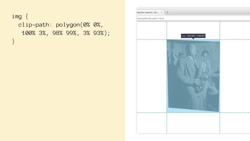 img { clip-path: polygon(0% 0%, 100% 3%, 98% 99...