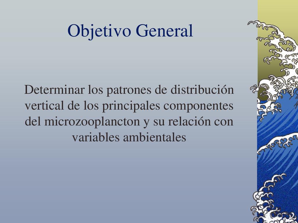Determinar los patrones de distribución vertica...
