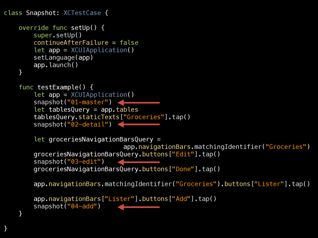 class Snapshot: XCTestCase { override func setU...