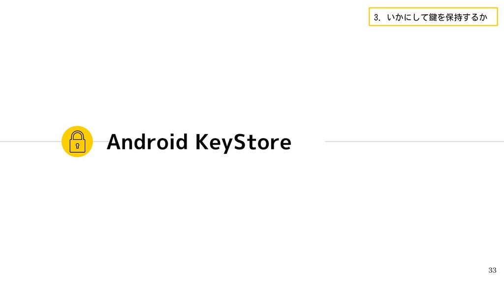 Android KeyStore 33 3. いかにして鍵を保持するか