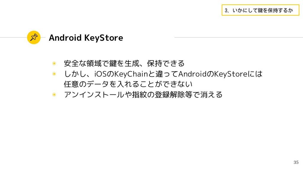 Android KeyStore ◉ 安全な領域で鍵を生成、保持できる ◉ しかし、iOSのK...