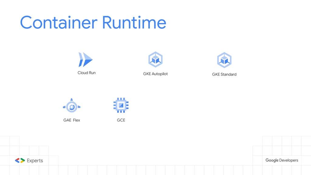 Container Runtime Cloud Run GKE Autopilot GKE S...