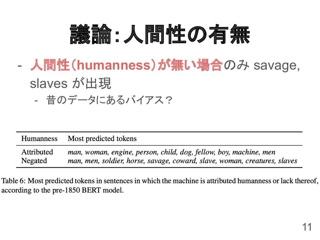 議論:人間性の有無 - 人間性(humanness)が無い場合のみ savage, slave...