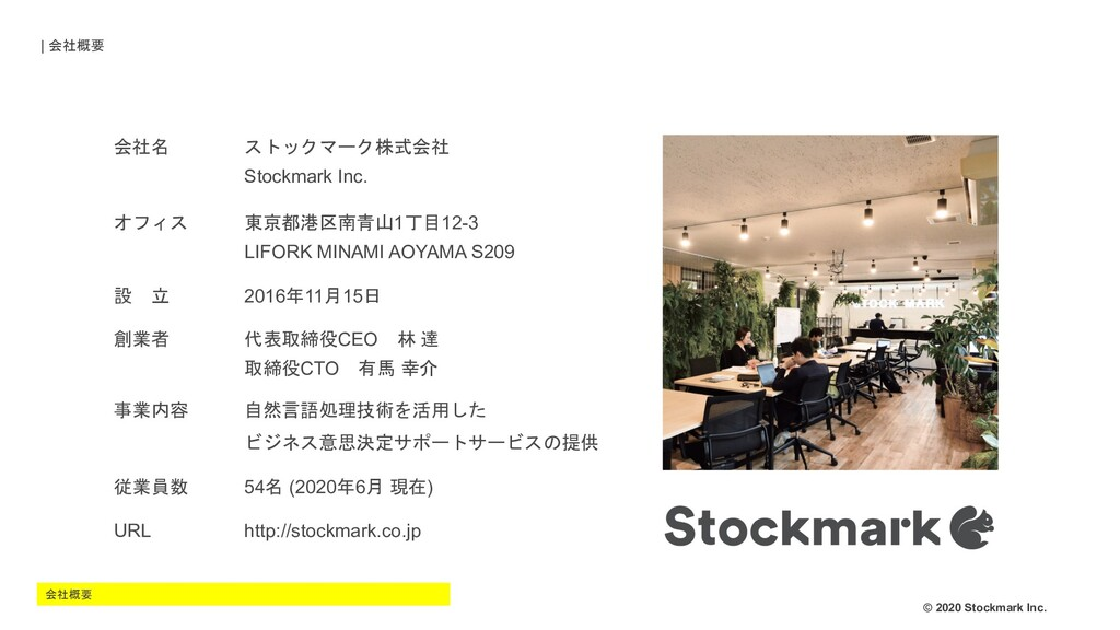 © 2020 Stockmark Inc. 会社名 ストックマーク株式会社 Stockmark...