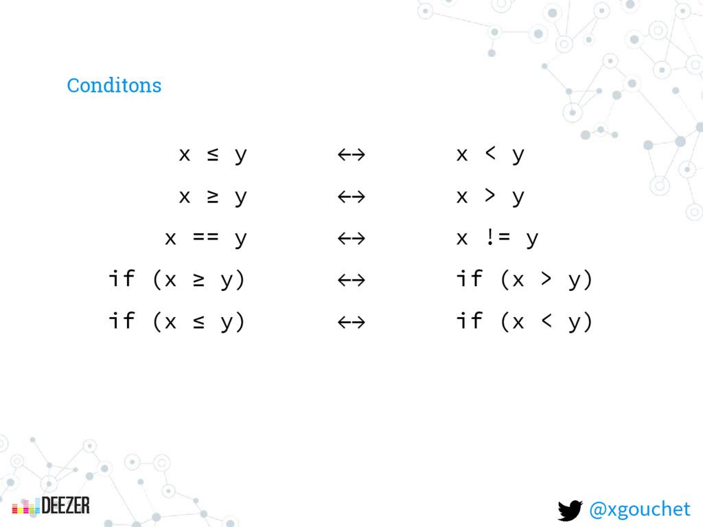 x ≤ y ←→ x < y x ≥ y ←→ x > y x == y ←→ x != y ...