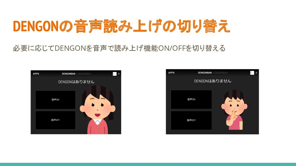 DENGONの音声読み上げの切り替え 必要に応じてDENGONを音声で読み上げ機能ON/OFF...
