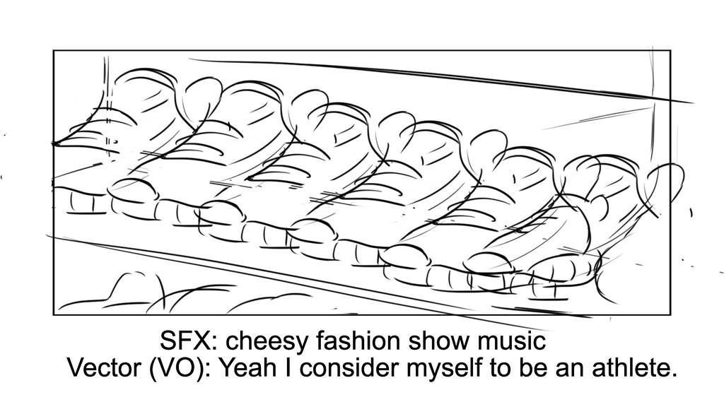 SFX: cheesy fashion show music Vector (VO): Yea...
