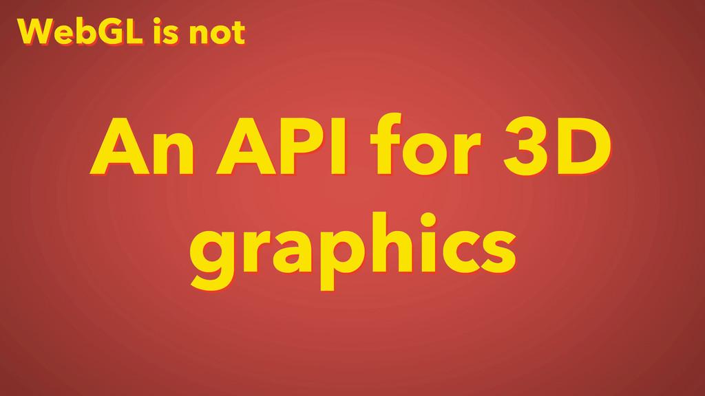 WebGL is not An API for 3D graphics