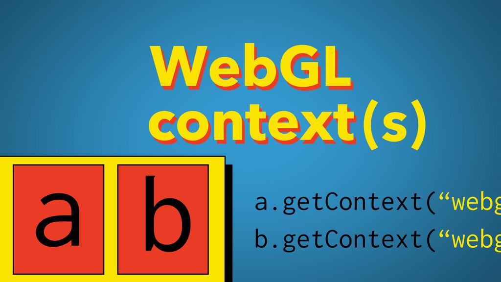 WebGL context WebGL context(s) a b a.getContext...