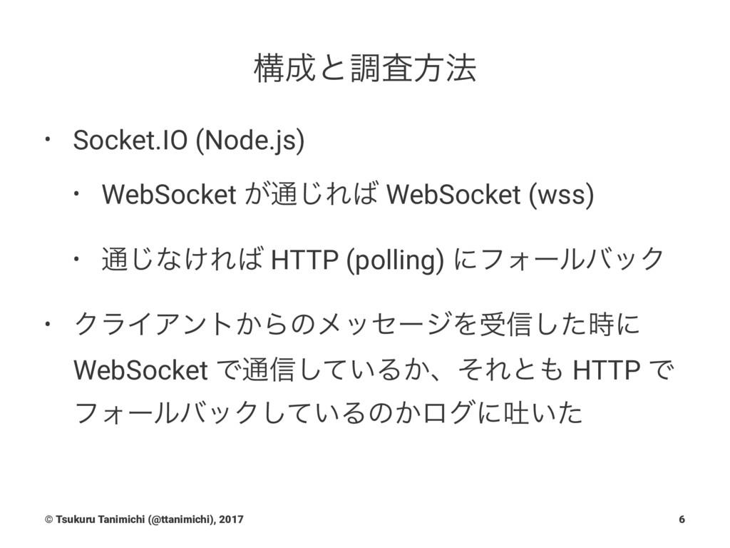 ߏͱௐࠪํ๏ • Socket.IO (Node.js) • WebSocket ͕௨͡Ε...