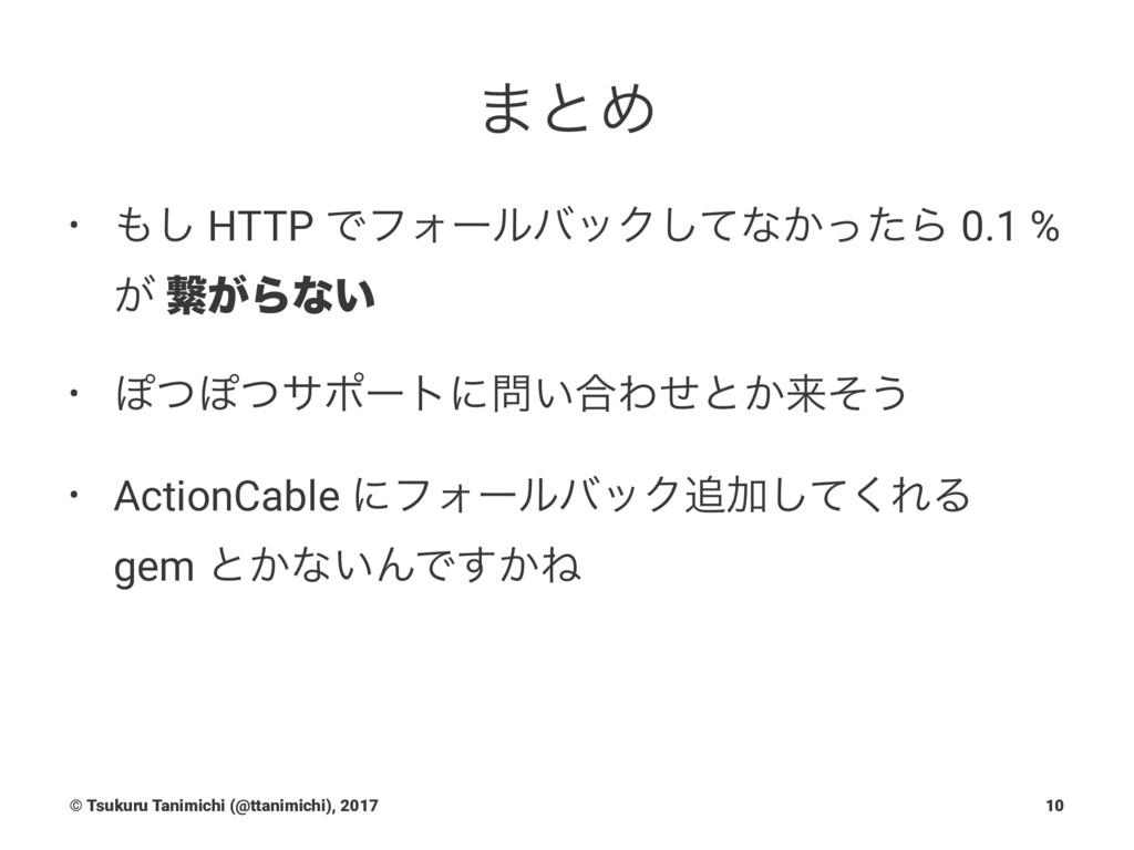 ·ͱΊ • ͠ HTTP ͰϑΥʔϧόοΫͯ͠ͳ͔ͬͨΒ 0.1 % ͕ ܨ͕Βͳ͍ • Ά...