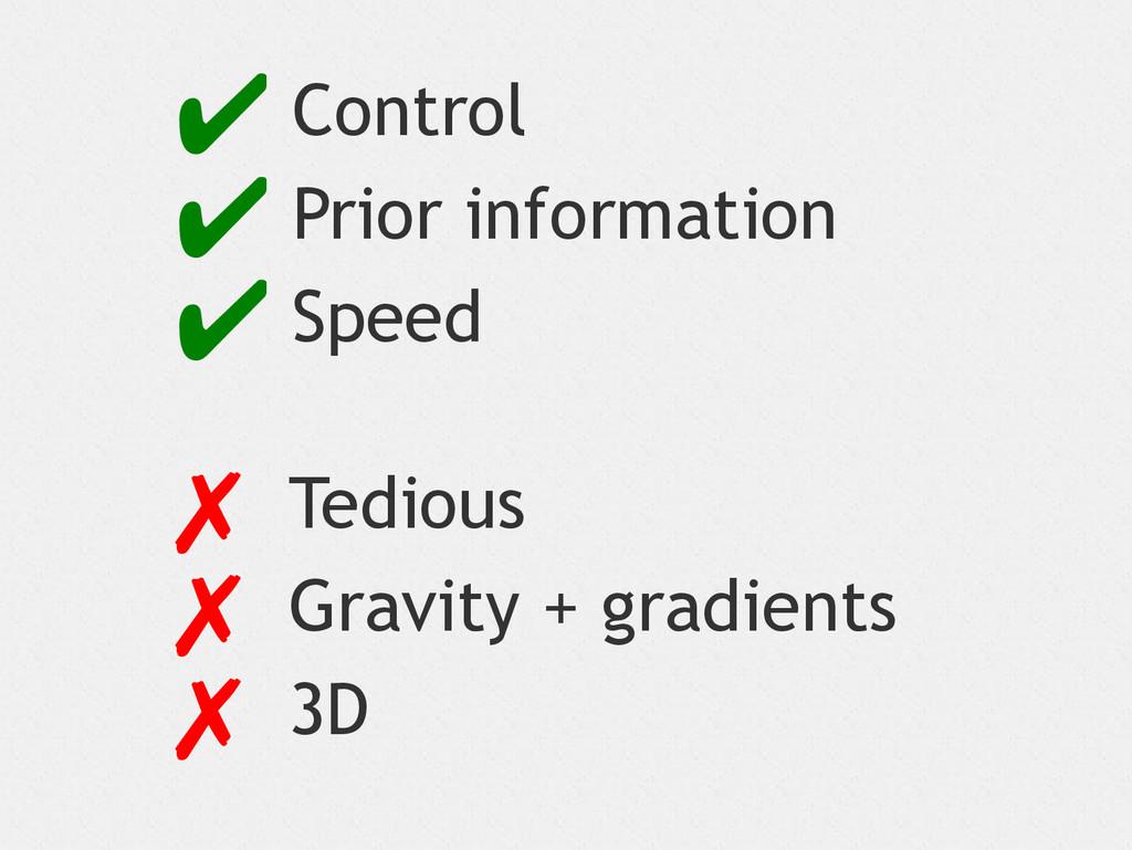 ✔ Control ✔ Prior information ✔ Speed ✗ Tedious...