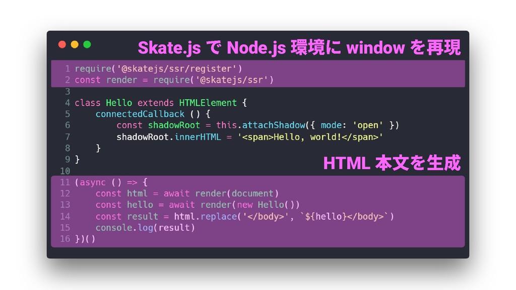 Skate.js Node.js window HTML