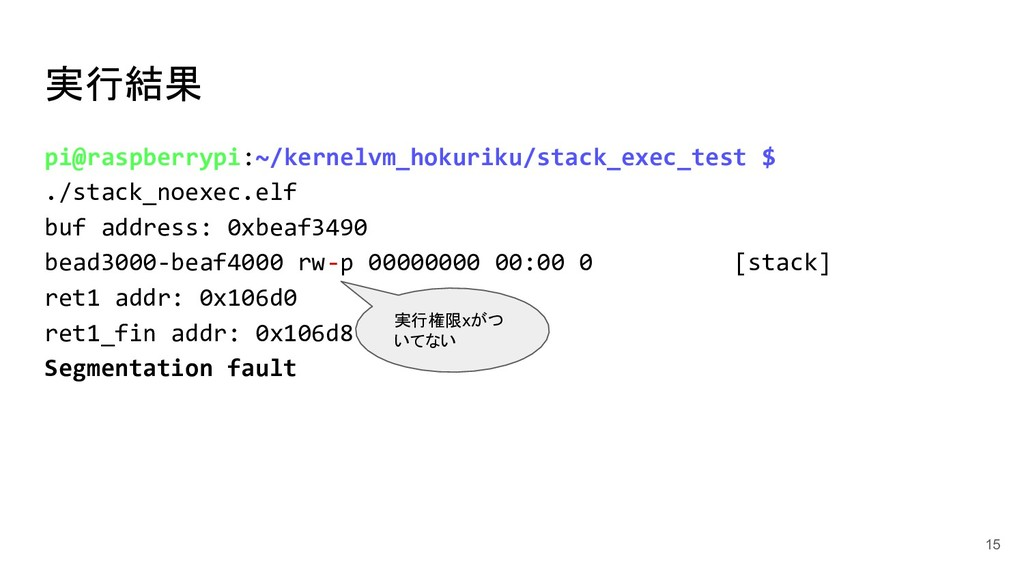 実行結果 15 pi@raspberrypi:~/kernelvm_hokuriku/stac...