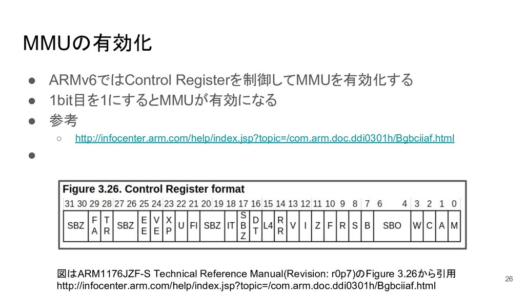 MMUの有効化 ● ARMv6ではControl Registerを制御してMMUを有効化する...