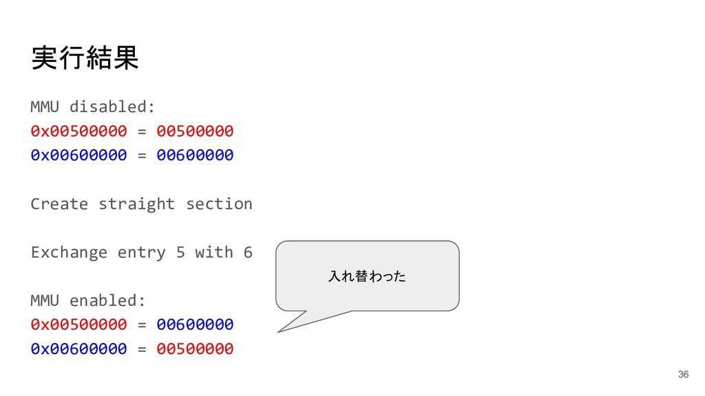 実行結果 MMU disabled: 0x00500000 = 00500000 0x0060...