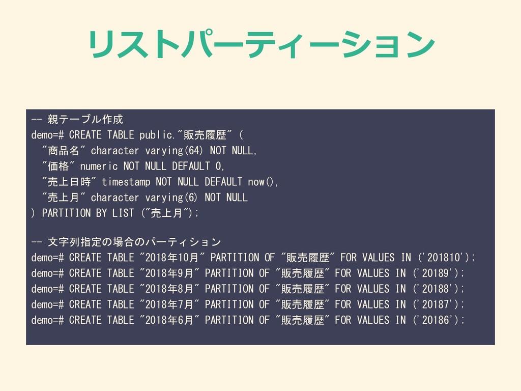 リストパーティーション -- 親テーブル作成 demo=# CREATE TABLE publ...