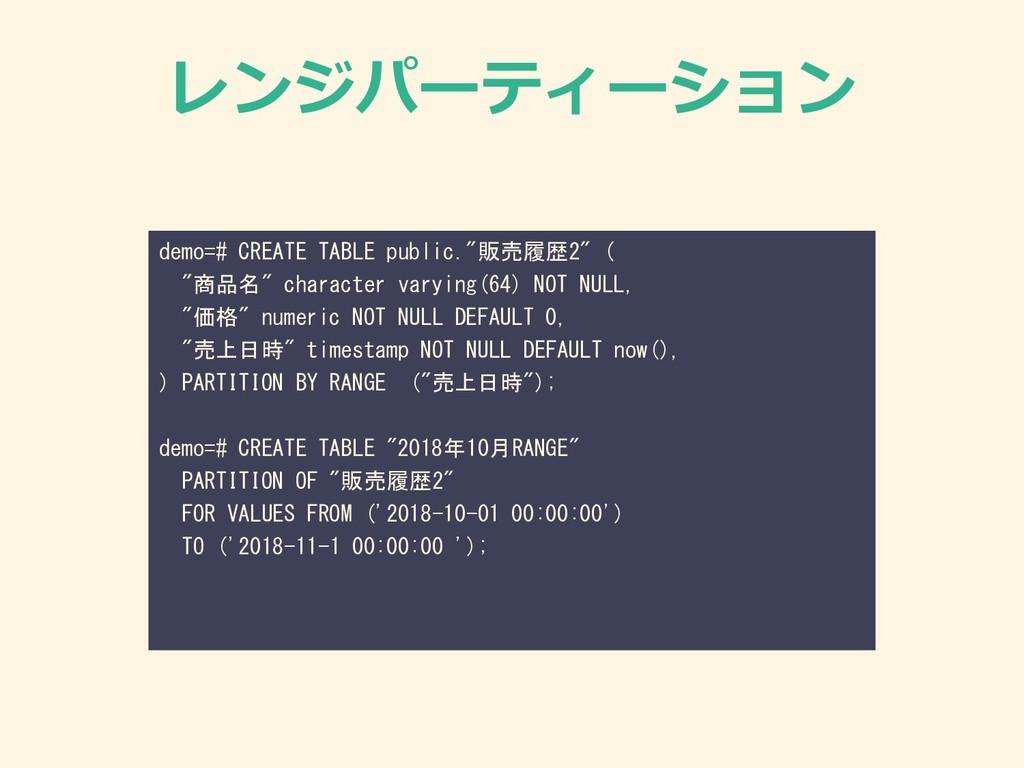 """レンジパーティーション demo=# CREATE TABLE public.""""販売履歴2"""" ..."""