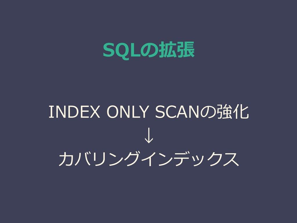 SQLの拡張 INDEX ONLY SCANの強化 ↓ カバリングインデックス