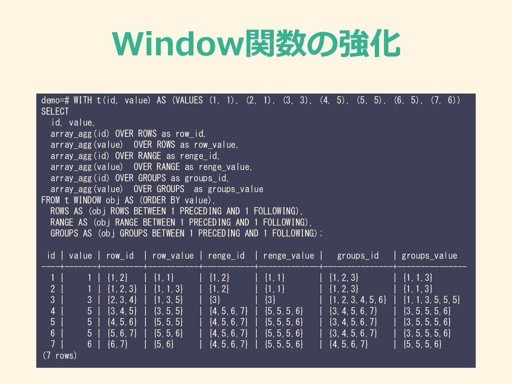 Window関数の強化 demo=# WITH t(id, value) AS (VALUES...