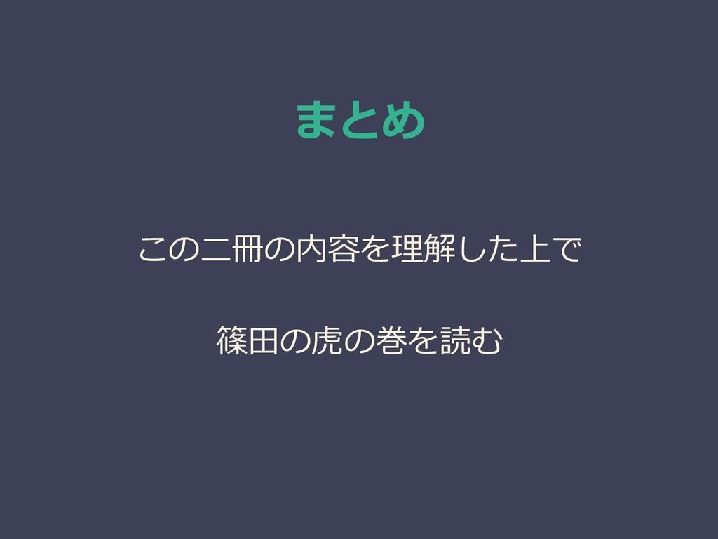 まとめ この二冊の内容を理解した上で 篠田の虎の巻を読む