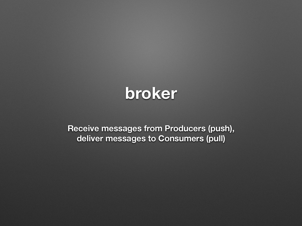 broker ! Receive messages from Producers (push)...