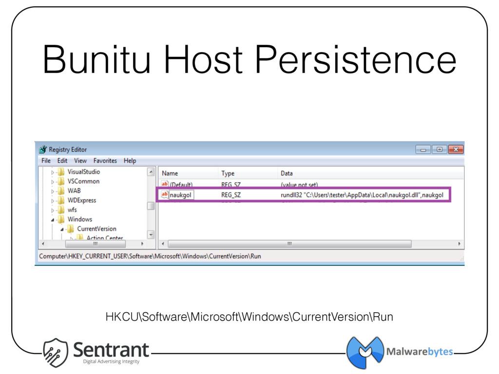 Bunitu Host Persistence HKCU\Software\Microsoft...