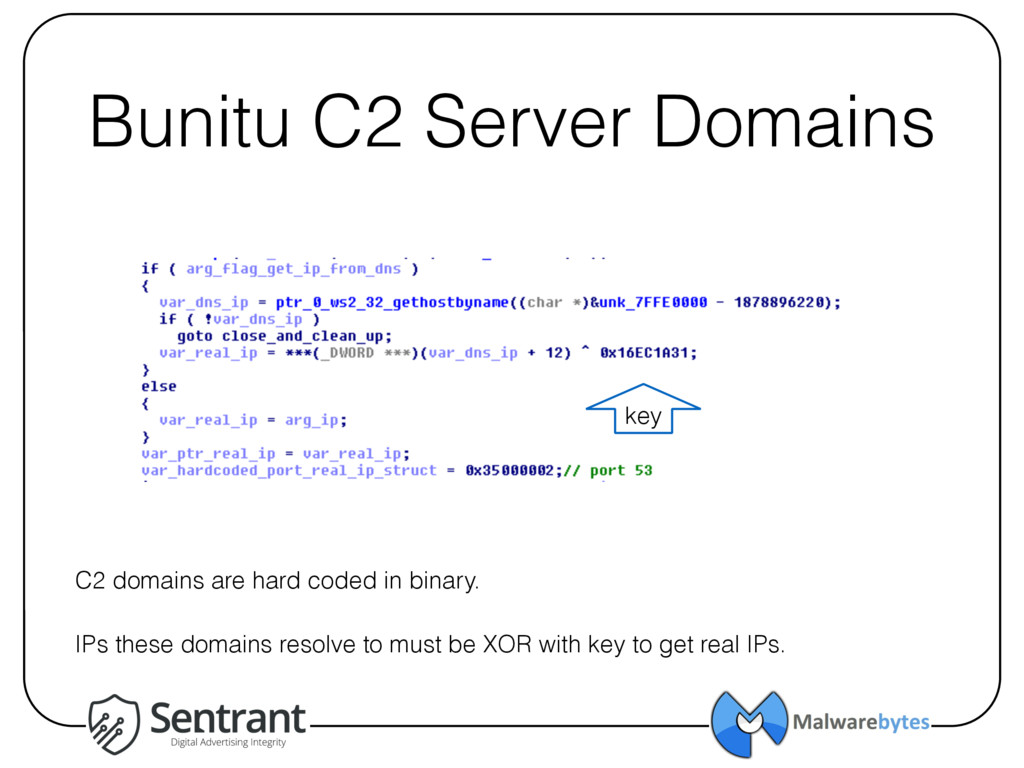 Bunitu C2 Server Domains C2 domains are hard co...
