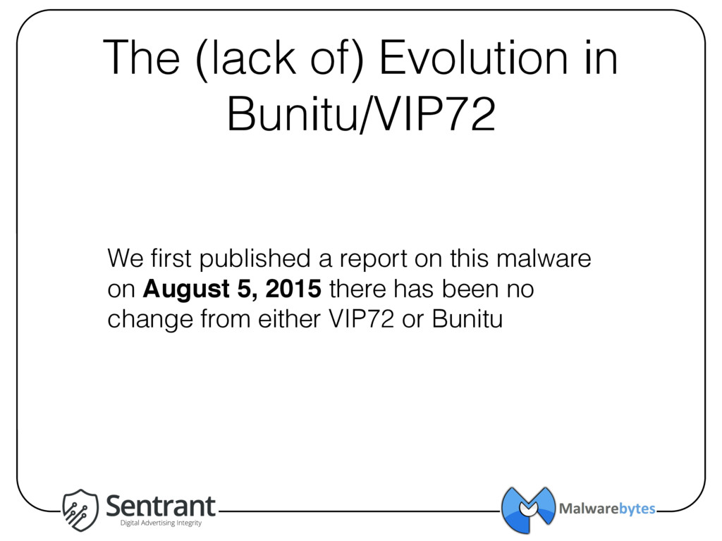 The (lack of) Evolution in Bunitu/VIP72 We firs...
