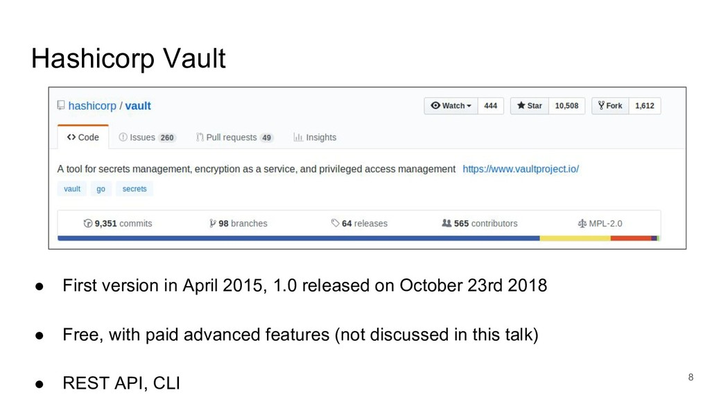 Hashicorp Vault 8 ● First version in April 2015...