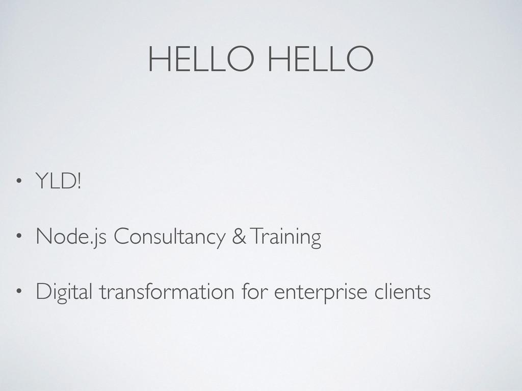 HELLO HELLO • YLD! • Node.js Consultancy & Trai...