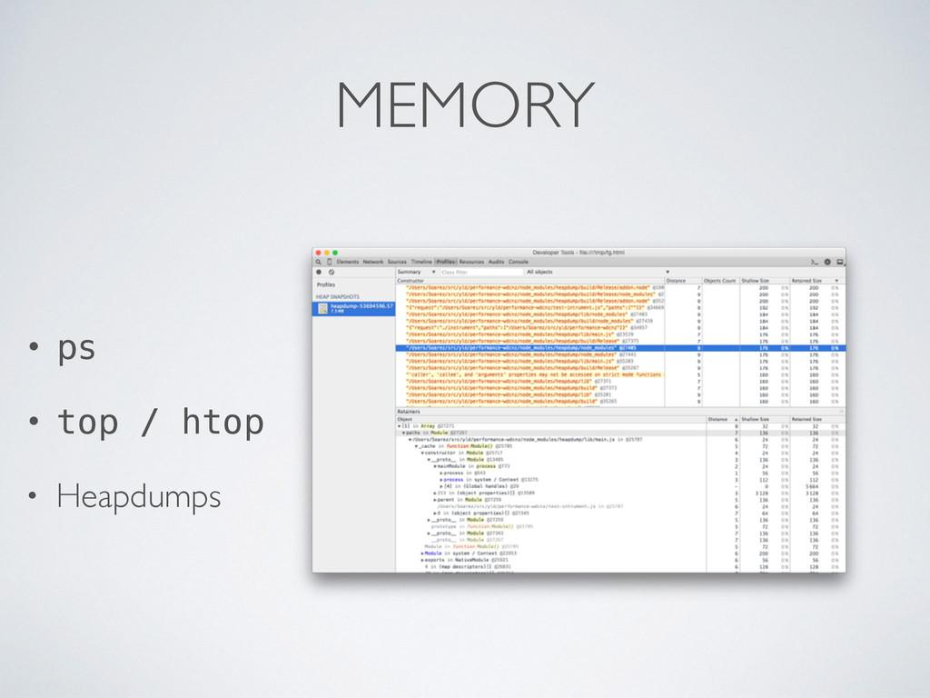 MEMORY • ps • top / htop • Heapdumps