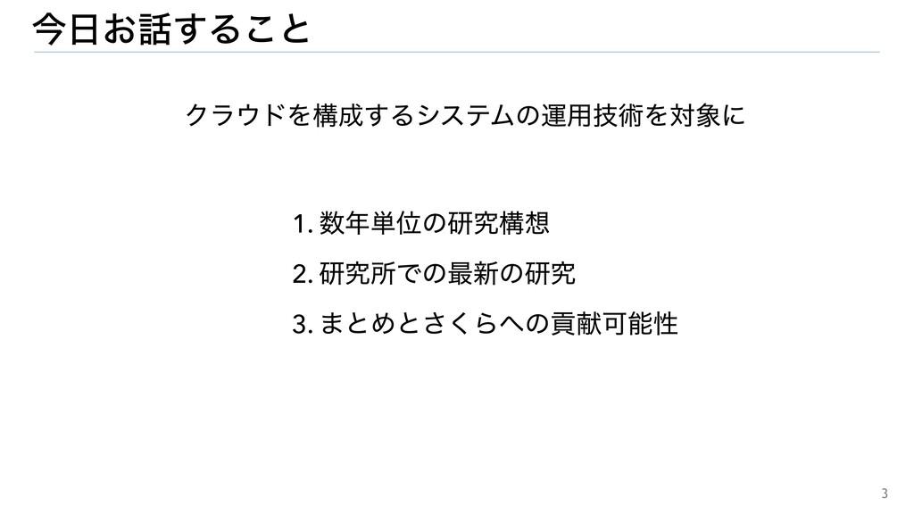 3 1. ୯Ґͷݚڀߏ 2. ݚڀॴͰͷ࠷৽ͷݚڀ 3. ·ͱΊͱ͘͞ΒͷߩݙՄੑ ...
