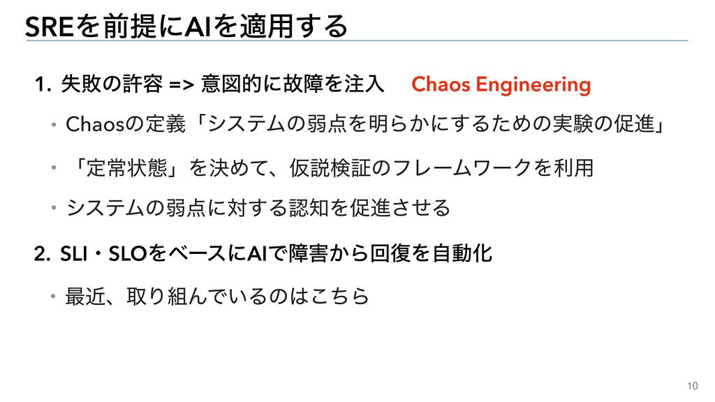 10 1. ࣦഊͷڐ༰ => ҙਤతʹނোΛೖ SREΛલఏʹAIΛద༻͢Δ Chaos E...