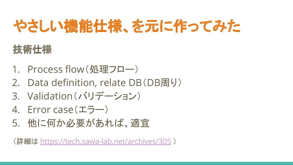 やさしい機能仕様、を元に作ってみた 技術仕様 1. Process flow(処理フロー) 2....