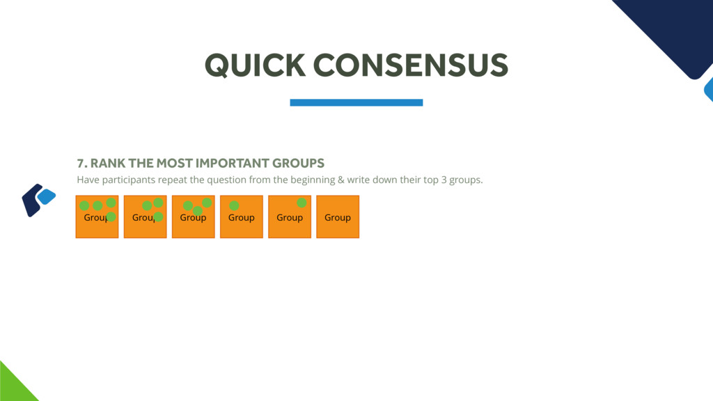 QUICK CONSENSUS 7. RANK THE MOST IMPORTANT GROU...