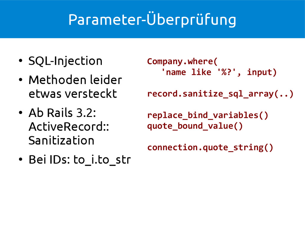 Parameter-Überprüfung ● SQL-Injection ● Methode...