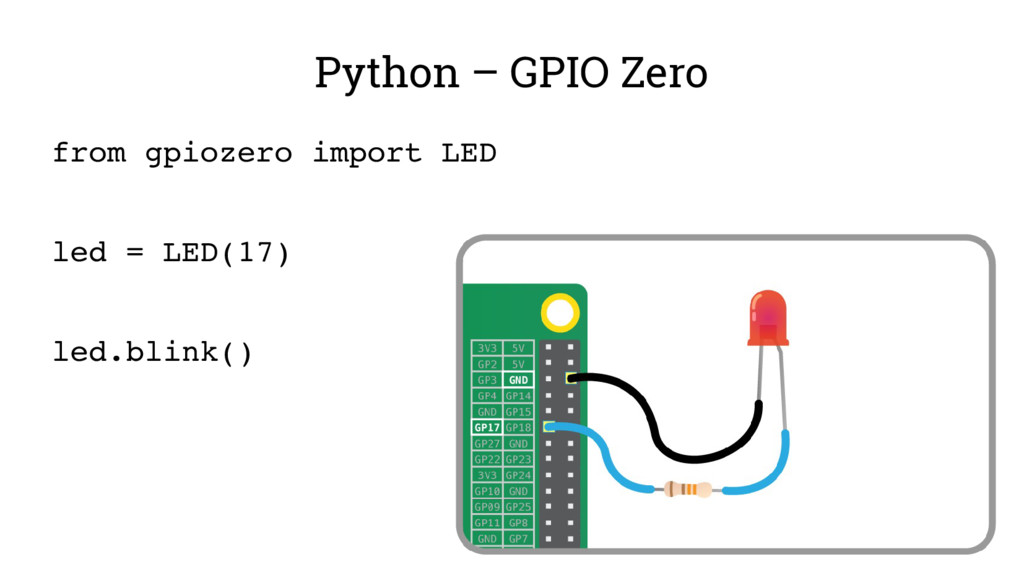 Python – GPIO Zero from gpiozero import LED led...
