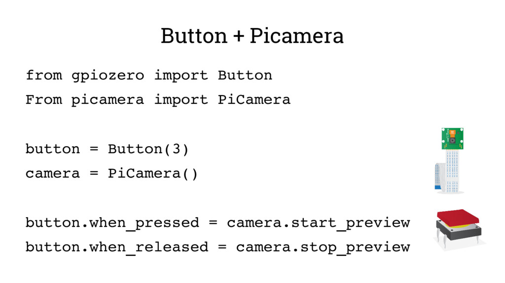 Button + Picamera from gpiozero import Button F...