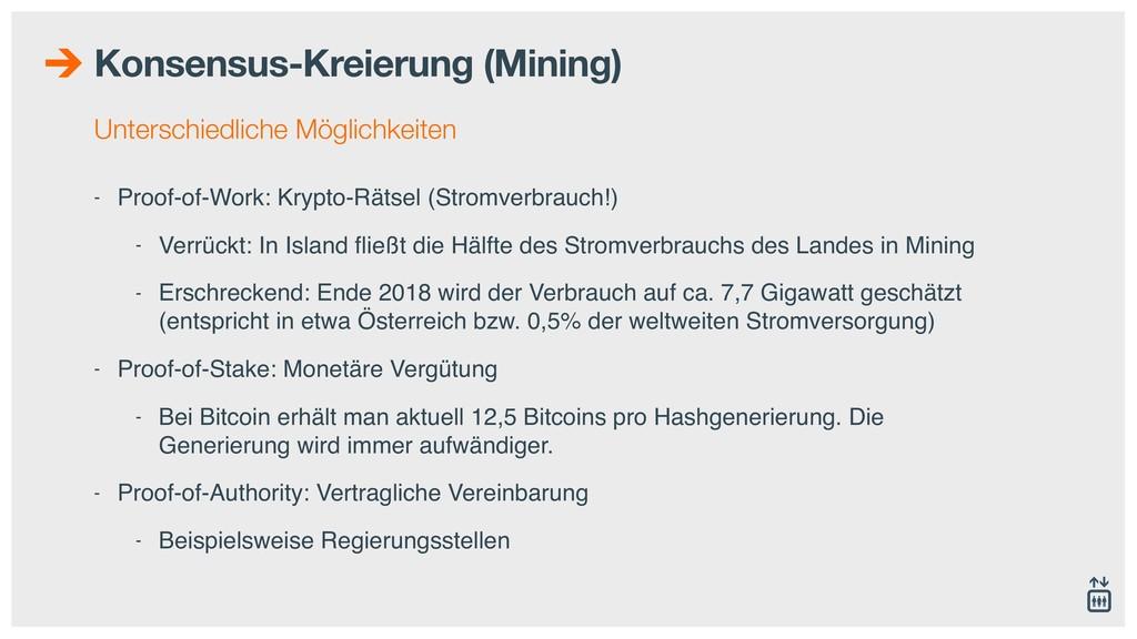 Konsensus-Kreierung (Mining) Unterschiedliche M...