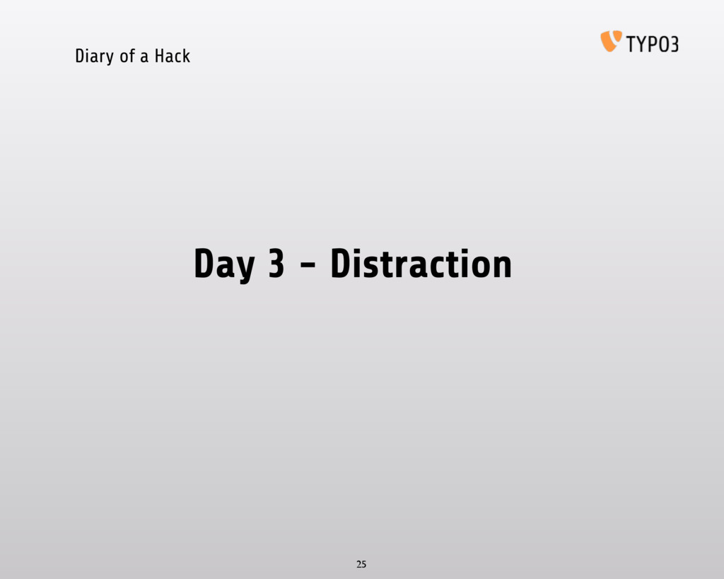 Diary of a Hack Day 3 - Distraction 25