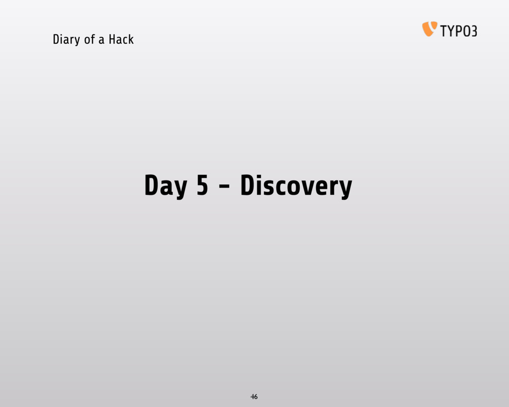 Diary of a Hack Day 5 - Discovery 46