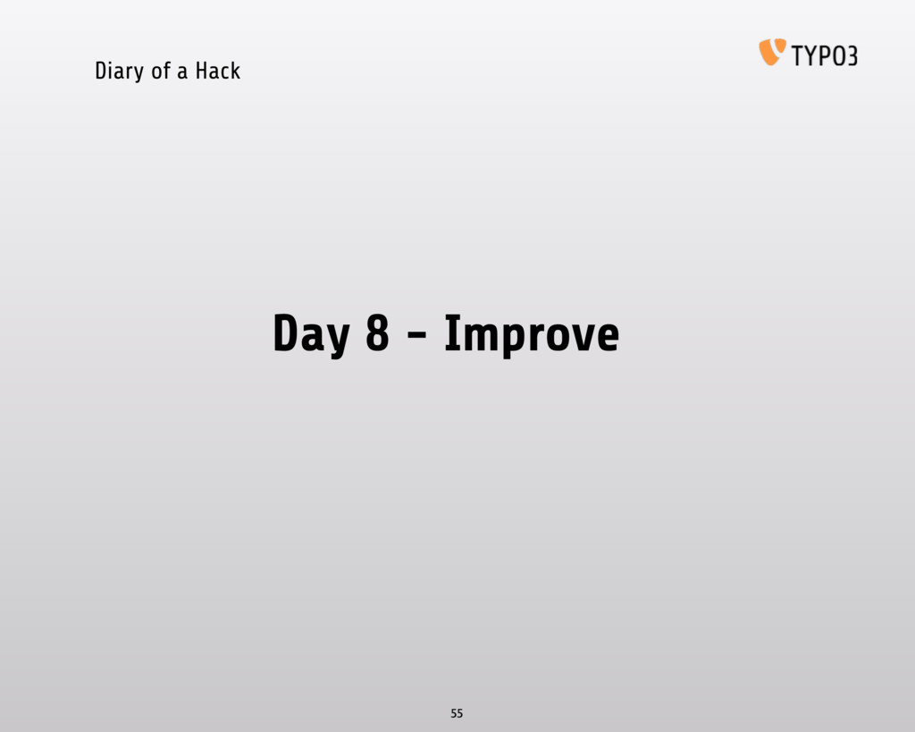 Diary of a Hack Day 8 - Improve 55