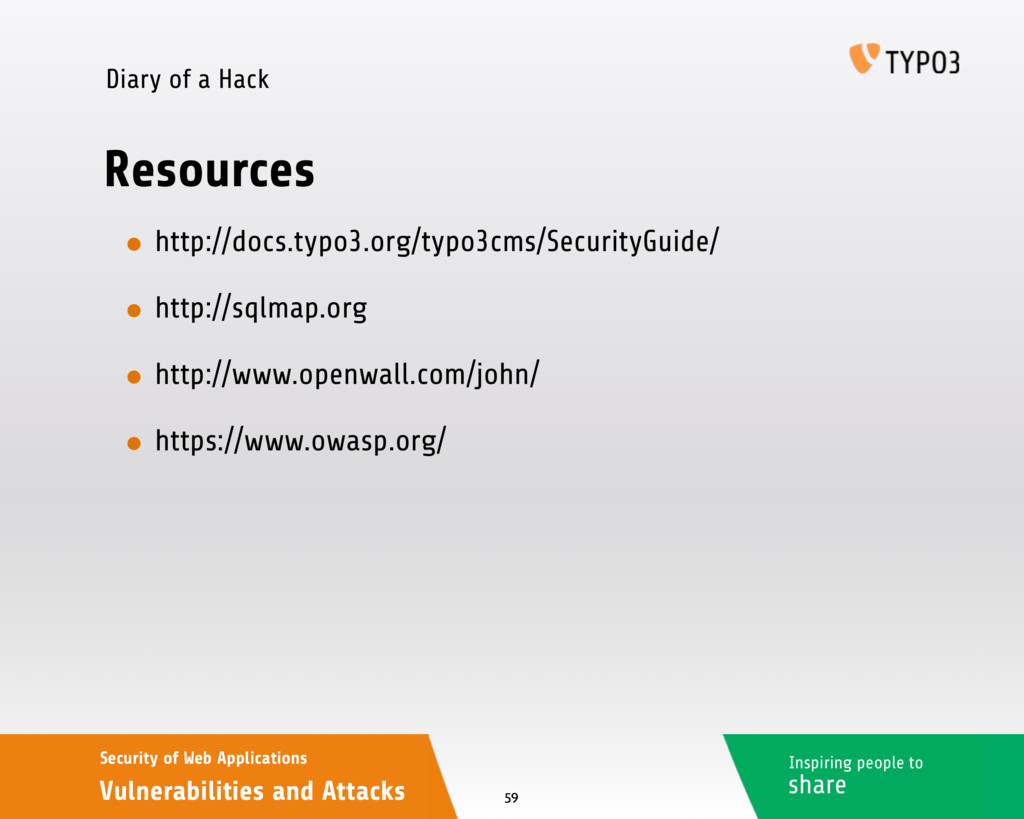 Inspiring people to share Security of Web Appli...