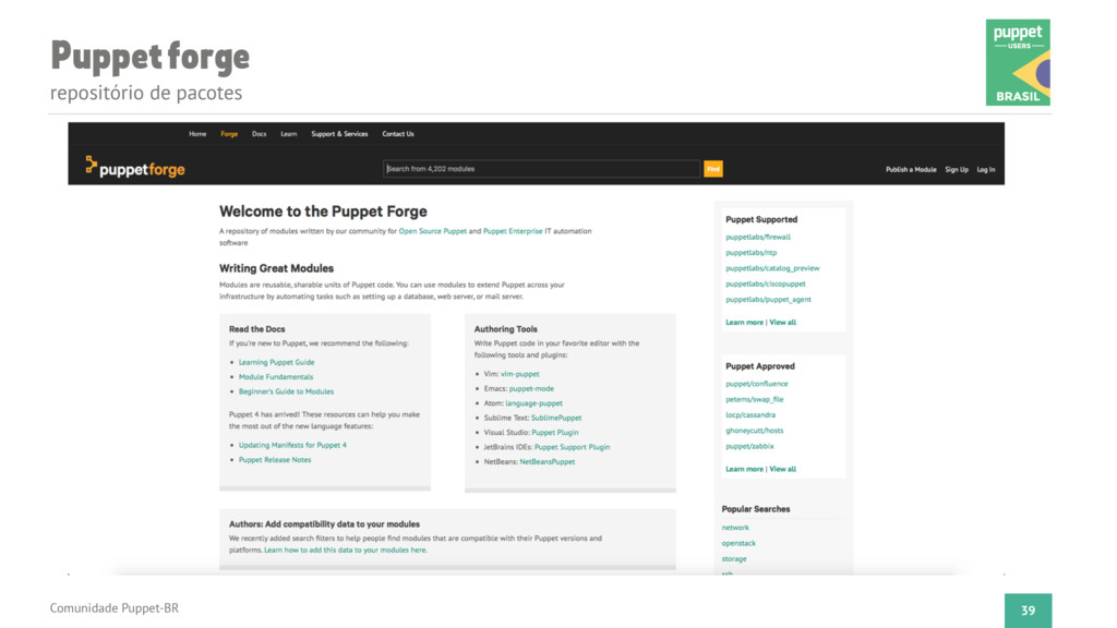 Puppet forge repositório de pacotes Comunidade ...