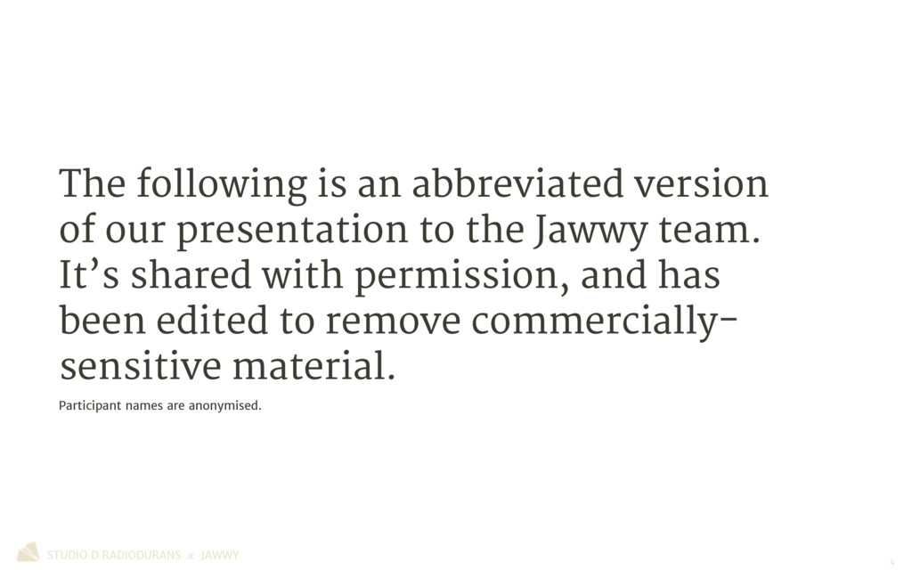 The following is an abbreviated version of our ...