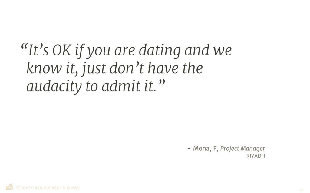 """""""It's OK if you are dating and we know it, just..."""