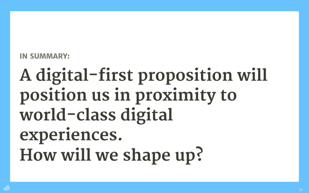 IN SUMMARY:  A digital-first proposition will p...
